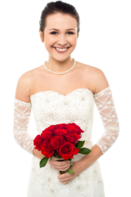 Bride Holding Roses PNG