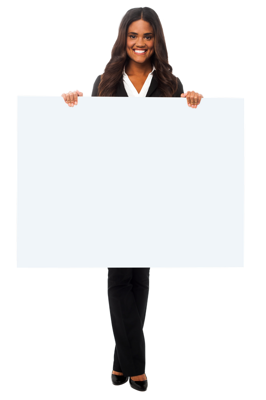 Girl Holding Banner PNG Background Photo