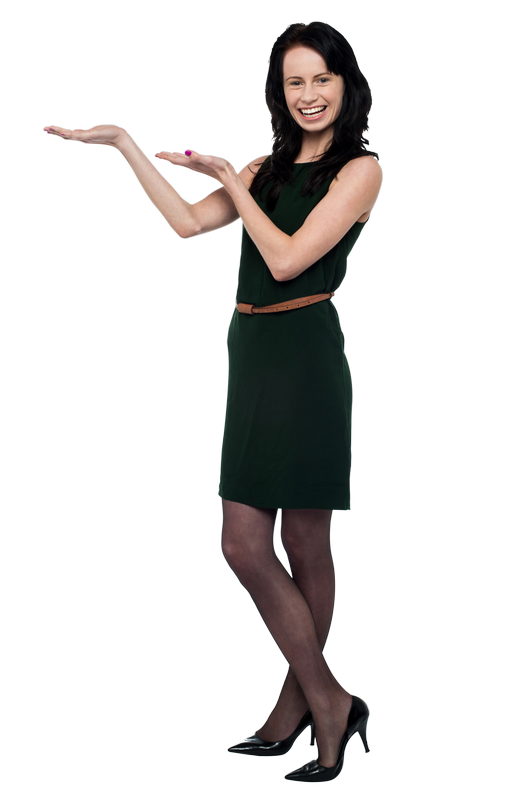 Girl Pointing Left Free PNG Image