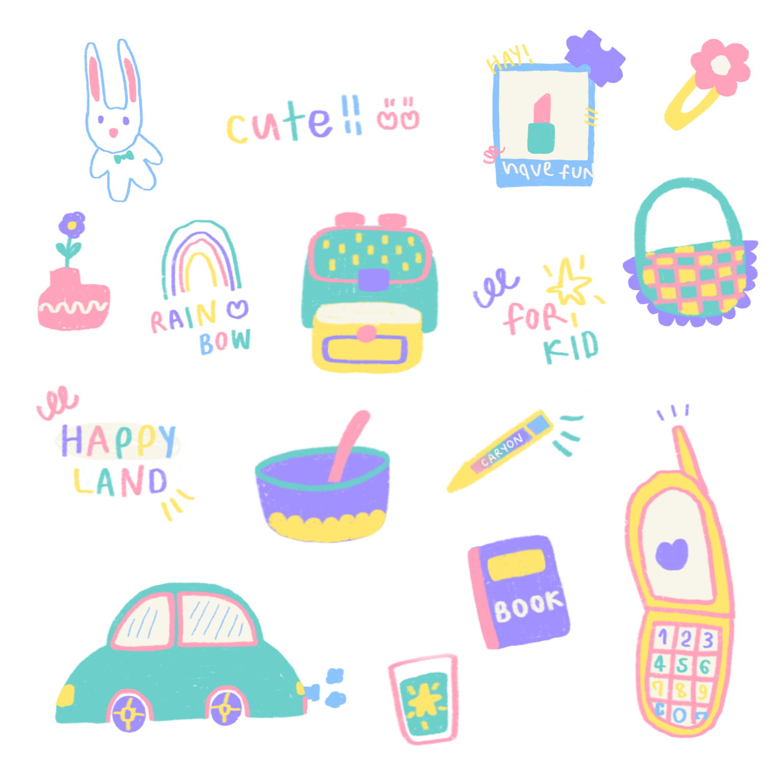Cute Sticker PNG Clipart Background
