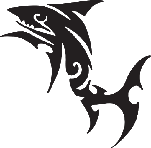 Fish Tattoos Silhouette Background PNG Image