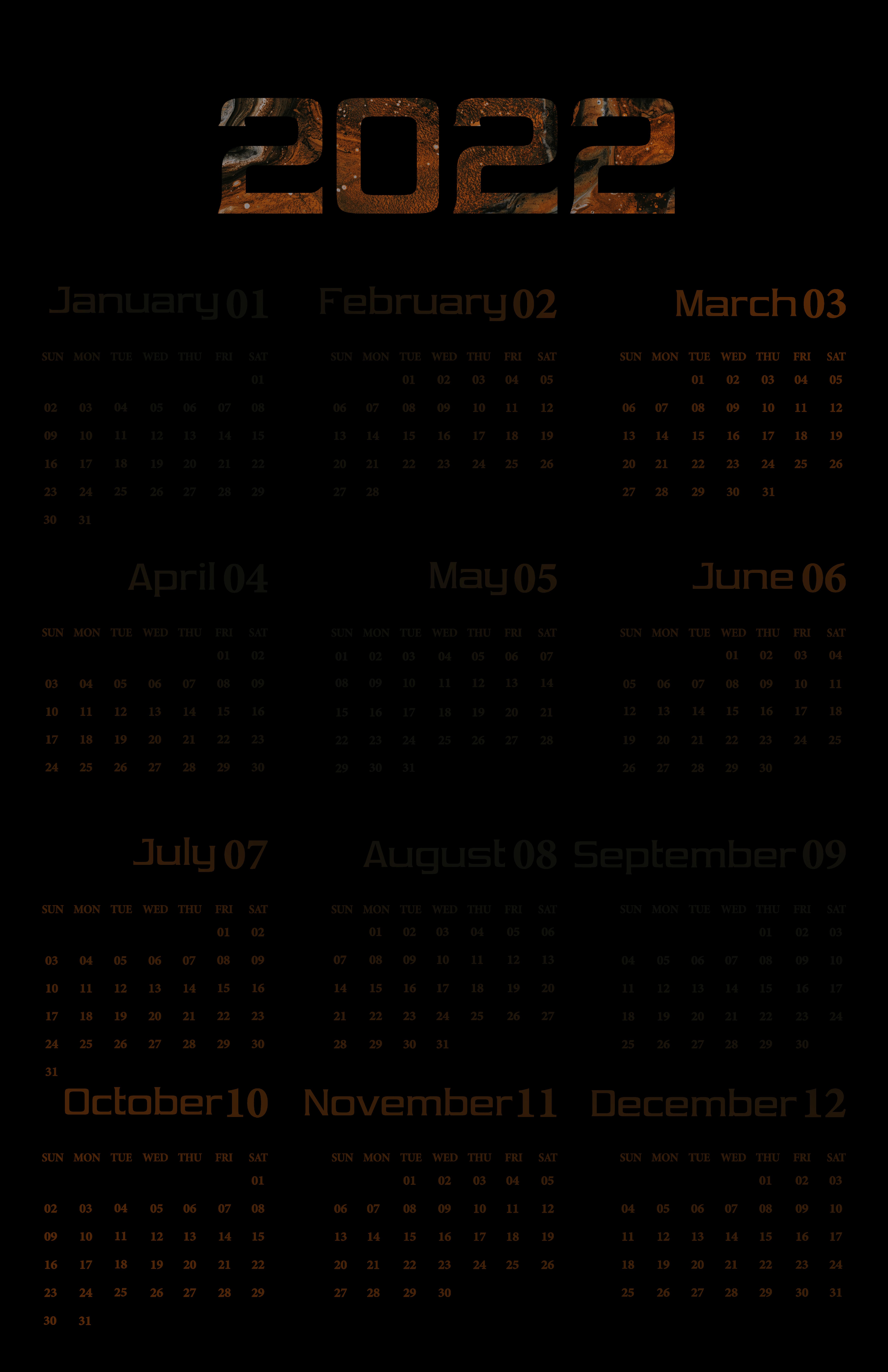 Printable Calendar 2022 Transparent Background
