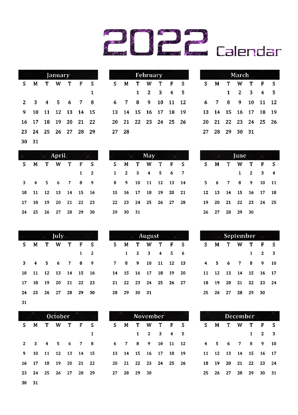 Printable Calendar 2022 Transparent Image