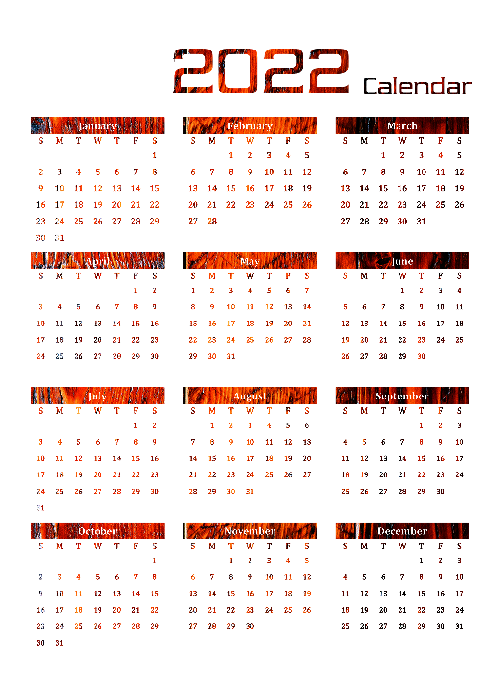 Printable Calendar 2022 Transparent Images